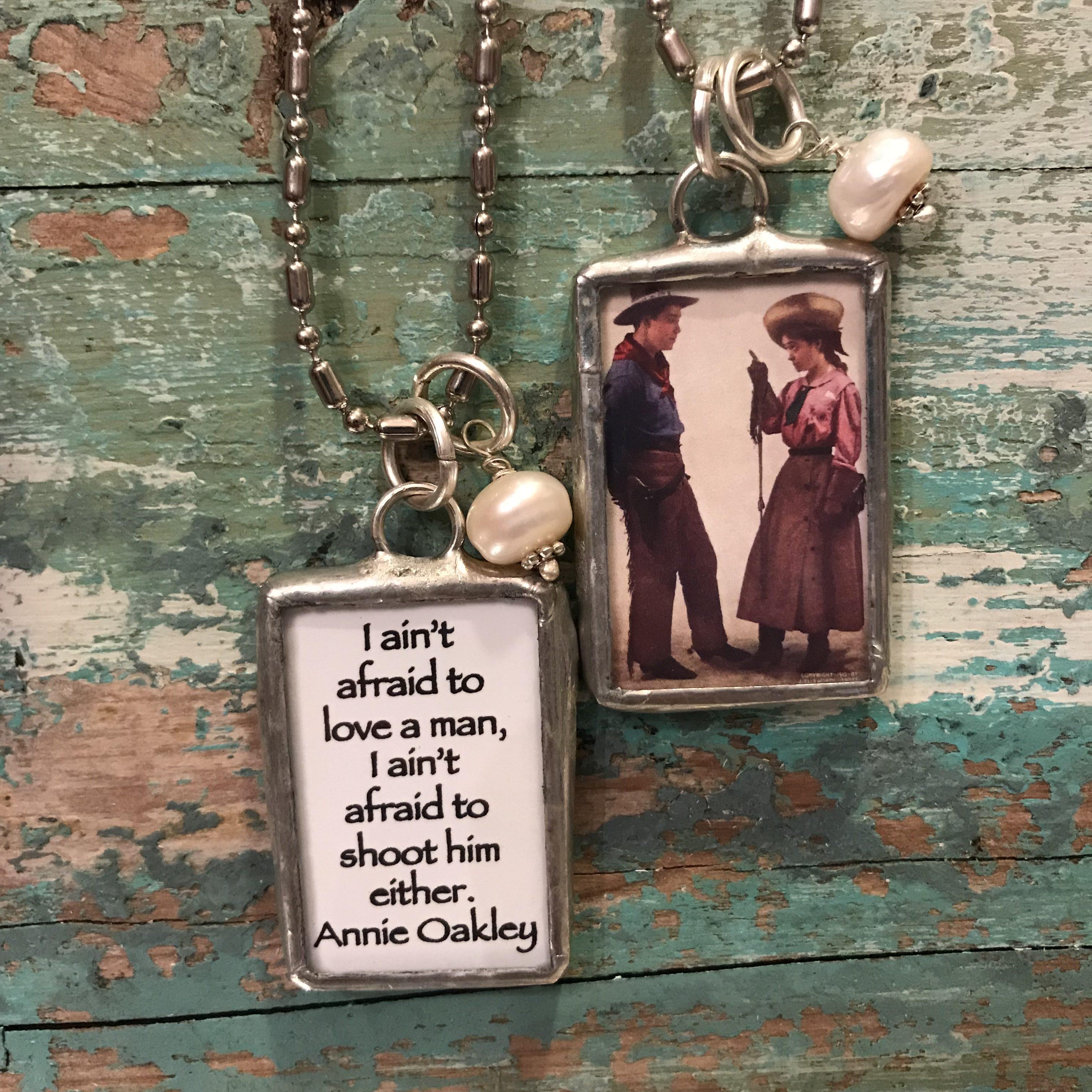 cowgirl, western, jewelry, Annie Oakley, funny, humor, handmade jewelry